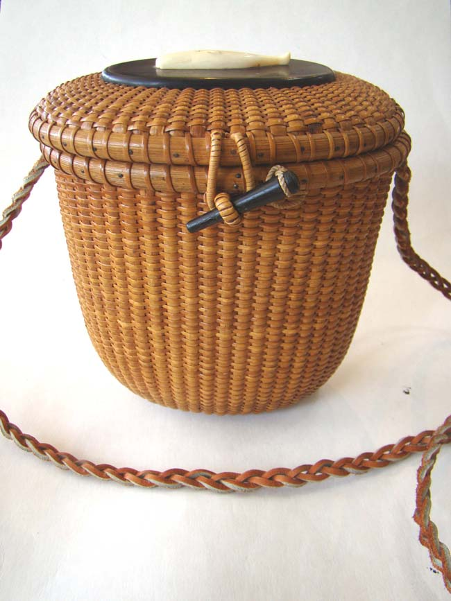 click to view larger image of One of the finest and earliest signed Jose Reyes Nantucket Friendship basket in the 'cocktail' size circa 1947-1948
