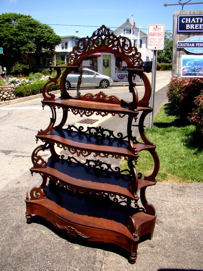 click to view larger image of A fine American four-tiered Etagere made of rosewood by Nicolas Schott of Philadelphia circa 1850-1860