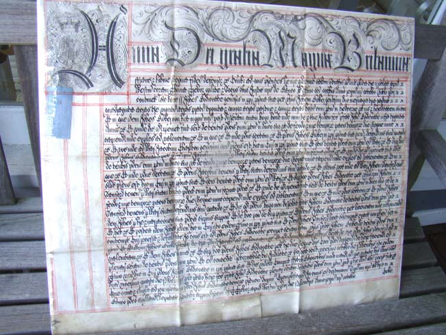 click to view larger image of A Magnificent late 17th or early 18th century English legal document written on vellum