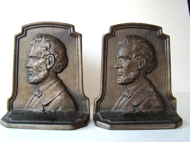 click to view larger image of A pair of Lincoln bookends by the Connecticut Foundry circa 1930.