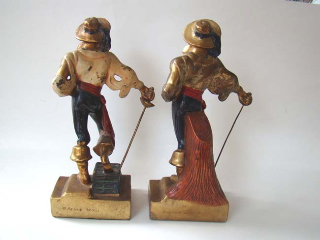 click to view larger image of A pair of swashbuckler pirate bookends made by the Armor Bronze Company circa 1928