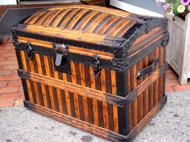click to view larger image of A fine American Steamer Trunk by Martin Maier  of Detroit - A Fine American Steamer Trunk By Martin Maier Of Detroit Circa 1875