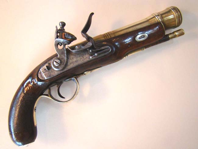 click to view larger image of An 18th century flintlock blunderbuss pistol signed 'Barnett' circa 1760-1780