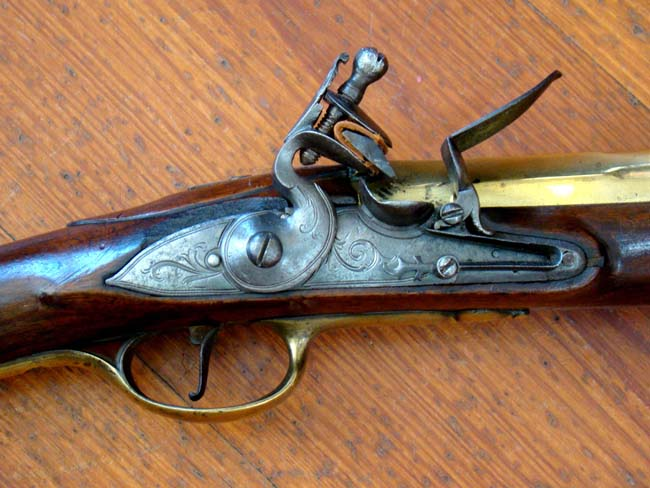click to view larger image of A fine 18th century English flintlock coaching blunderbuss inscribed