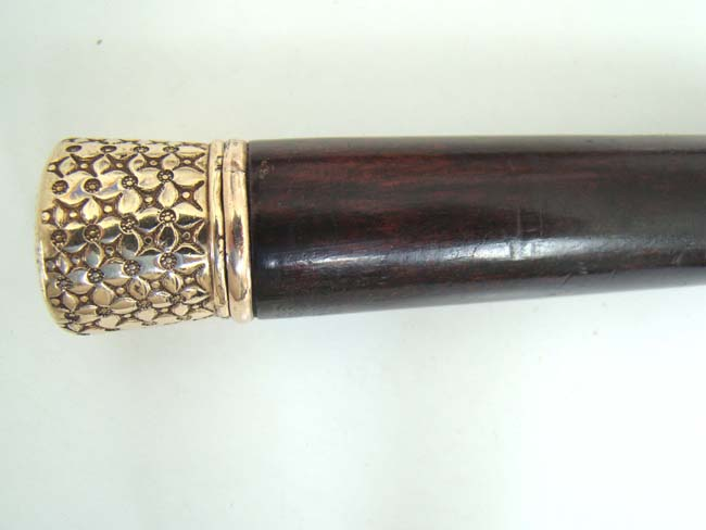click to view larger image of A fine Gold Knobbed Walking Stick with internal whiskey flasks circa 1885