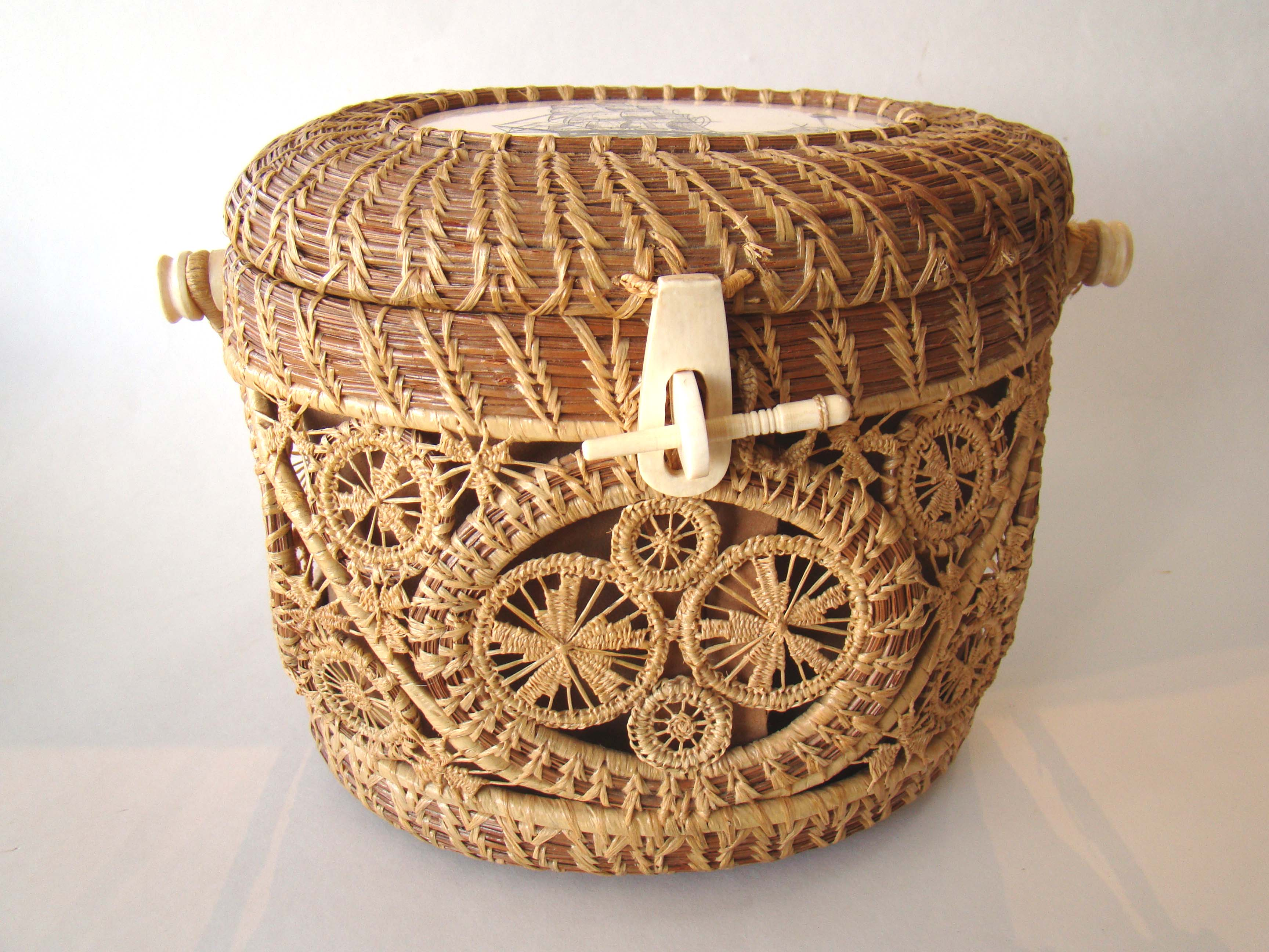 click to view larger image of A famous Mattapoisett basket made by the original creator of the baskets Gladys Ellis circa 1970