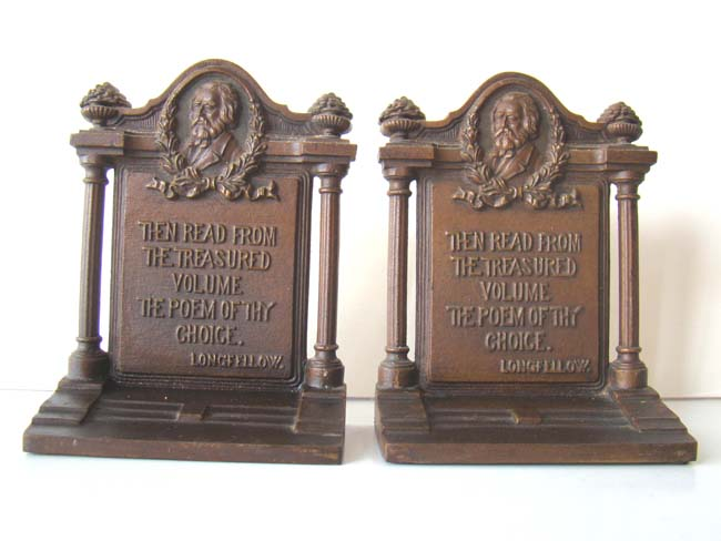 click to view larger image of A pair of Antique Bookends by Bradley & Hubbard circa 1925 with a quote by Longfellow