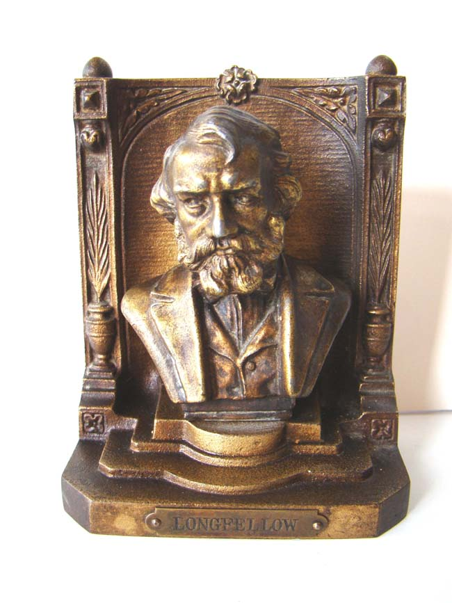 click to view larger image of A pair of Antique Bookends by Bradley & Hubbard circa 1926 featuring the Bust of Longfellow