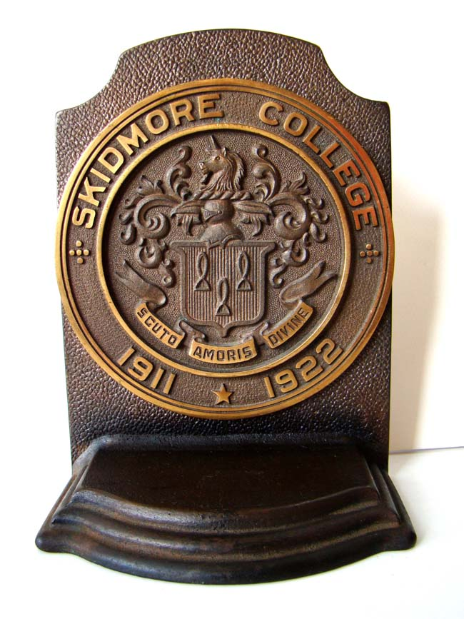 click to view larger image of A pair of SKIDMORE COLLEGE vintage Bookends