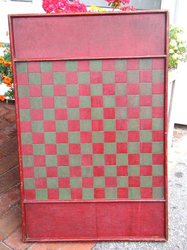 click to view larger image of An antique folk art pine double sided games board in green and red paint circa 1890