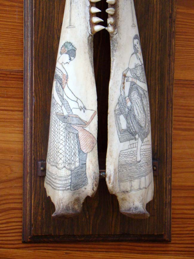 click to view larger image of A fabulous pair of polycrome Scrimshaw porpoise jaw bones circa 1840