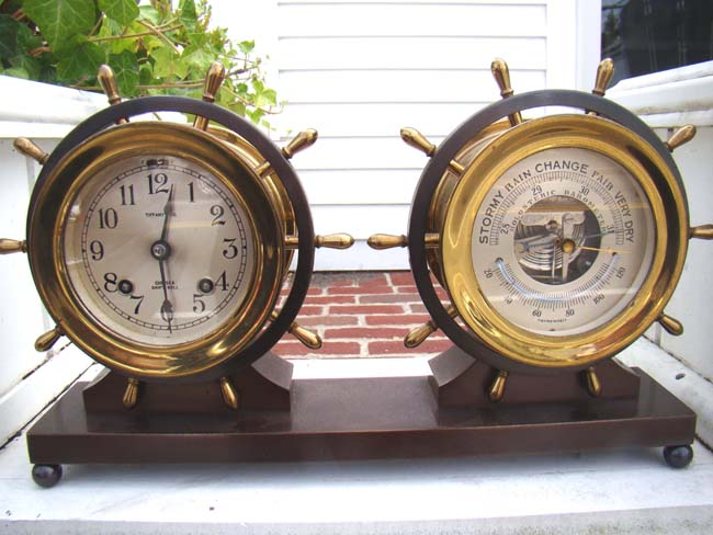 click to view larger image of A handsome Chelsea ship's bell clock and barometer set made circa 1940