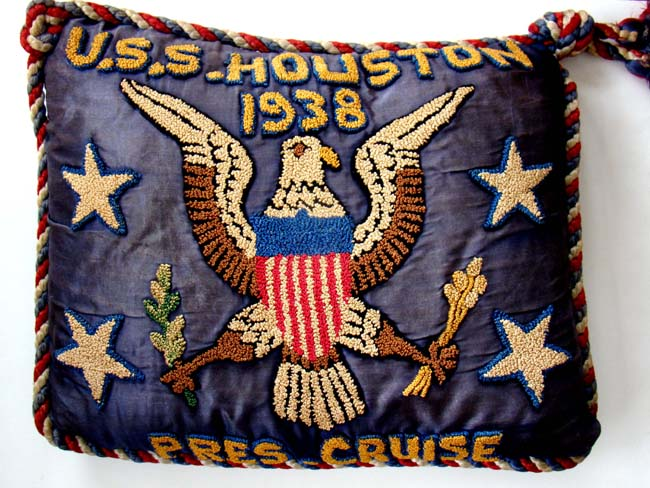 click to view larger image of An historic silk embroidered pillow made to commemorate Pres. Franklin Roosevelt's 24 day cruise aboard the (ill-fated) USS HOUSTON in July 1938.