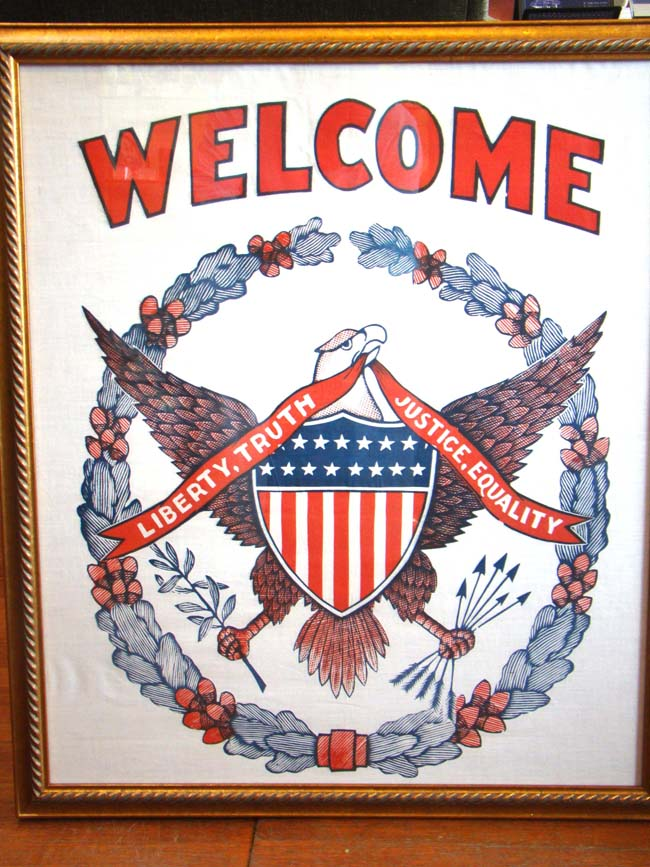 click to view larger image of A fine and patriotic WELCOME banner circa 1920