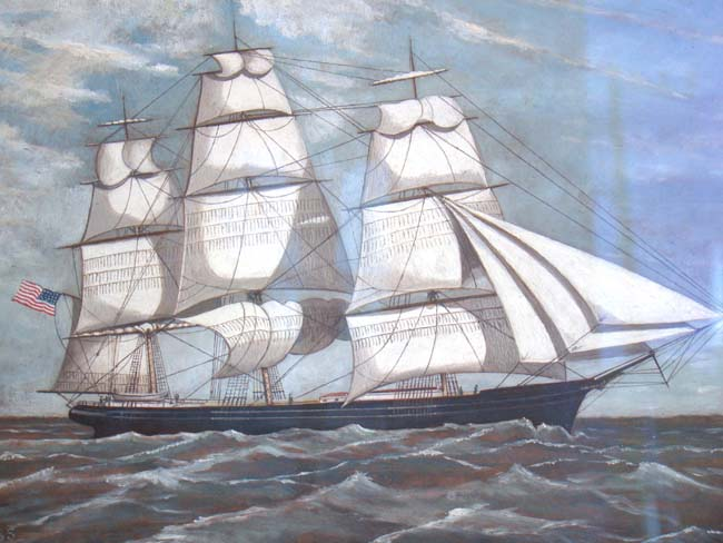 click to view larger image of An American clipper ship by William Pierce Stubbs circa 1890
