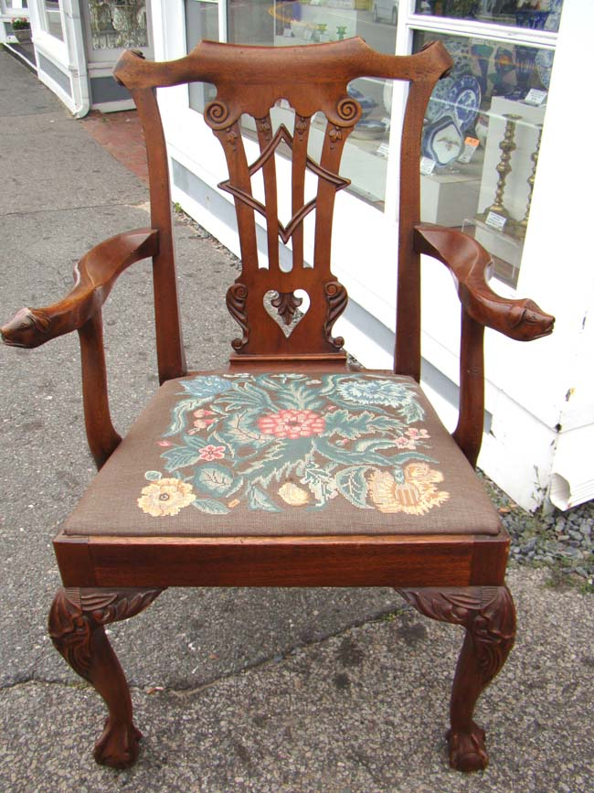 click to view larger image of A very fine 18th century Chippendale 'style'  walnut - A Very Fine 18th Century Chippendale 'style' Walnut Armchair With