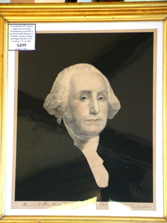 click to view larger image of A wonderful 19th century engraving of George Washington with presentation inscription dated 1861