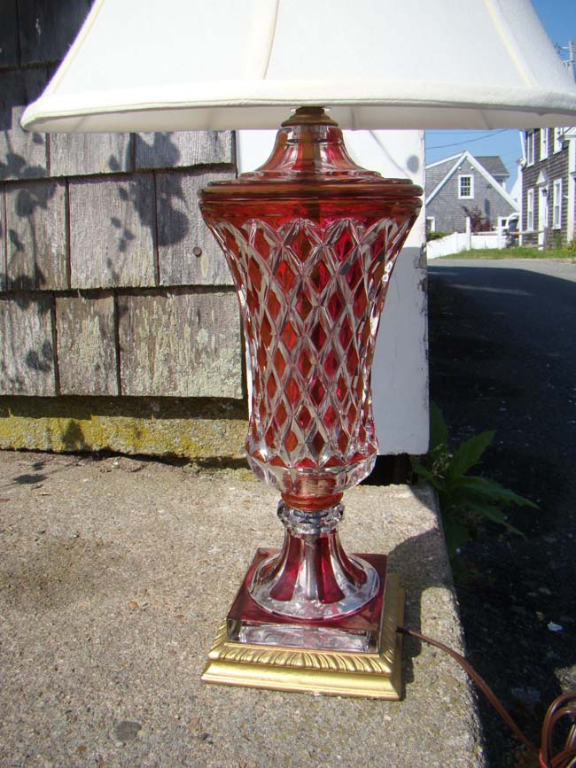 click to view larger image of A very attractive ruby red cut to clear crystal lamp circa 1930