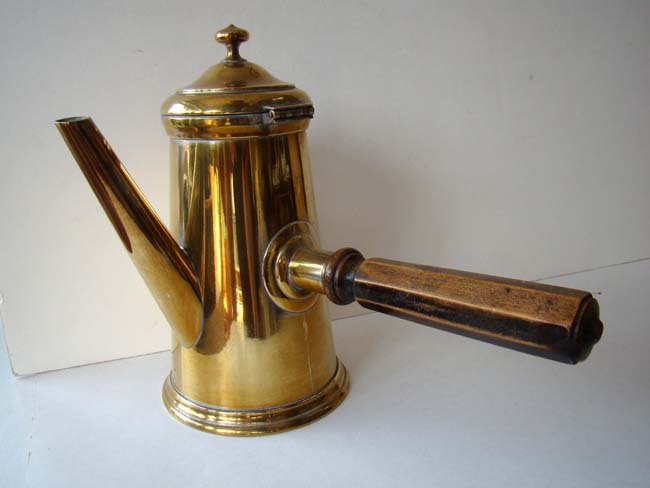 click to view larger image of A rare antique brass Coffee pot with side mounted octagonal turned fruitwood handle circa 1840