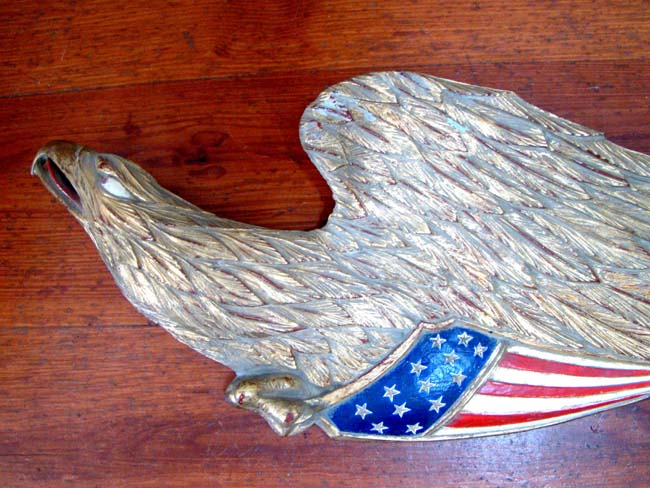 click to view larger image of A finely carved American Eagle Plaque with the word FREEDOM on it