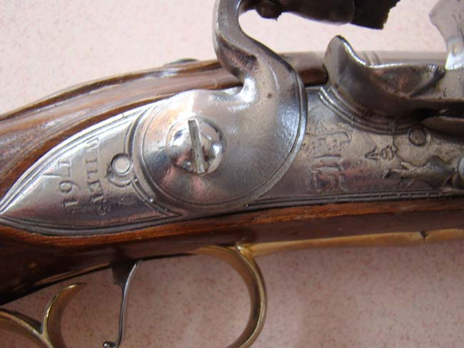 click to view larger image of A fine reproduction of an 18th century British heavy dragoon flintlock pistol