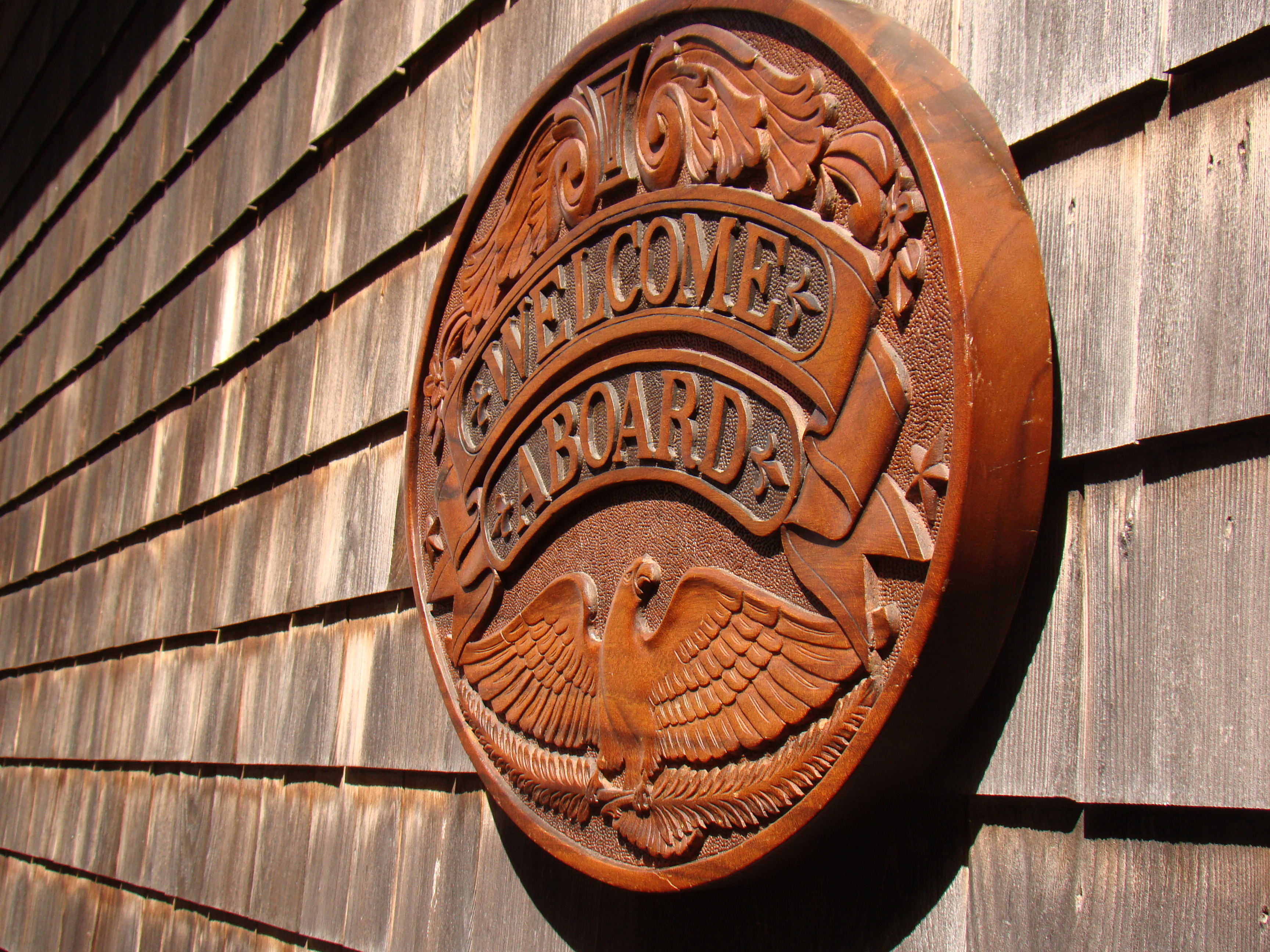 click to view larger image of A  F A B U L O U S carved walnut WELCOME ABOARD sign with carved American eagle