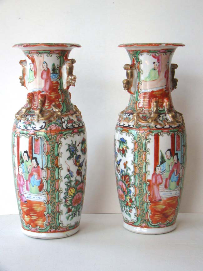 click to view larger image of A pair of late 19th century Chinese Export porcelain 'Rose Medallion' vases
