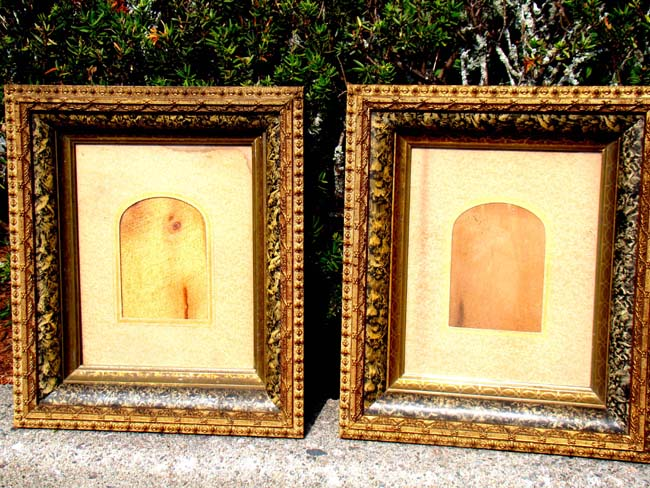click to view larger image of A wonderful pair of Civil War era carved wood and gilded gesso picture or photo frames circa 1865