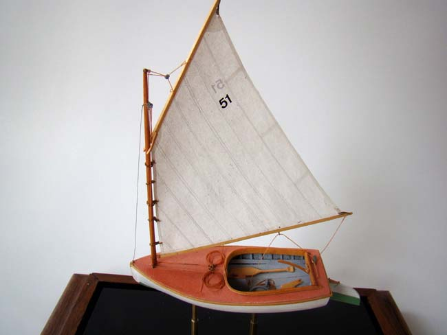 click to view larger image of A highly detailed scale model of a 1923 Beetle Catboat made by Cape Cod model boat builder Tom Lauria