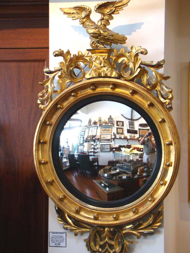 Click To View Larger Image Of An English Regency Giltwood Convex Mirror  Circa 1810 1820