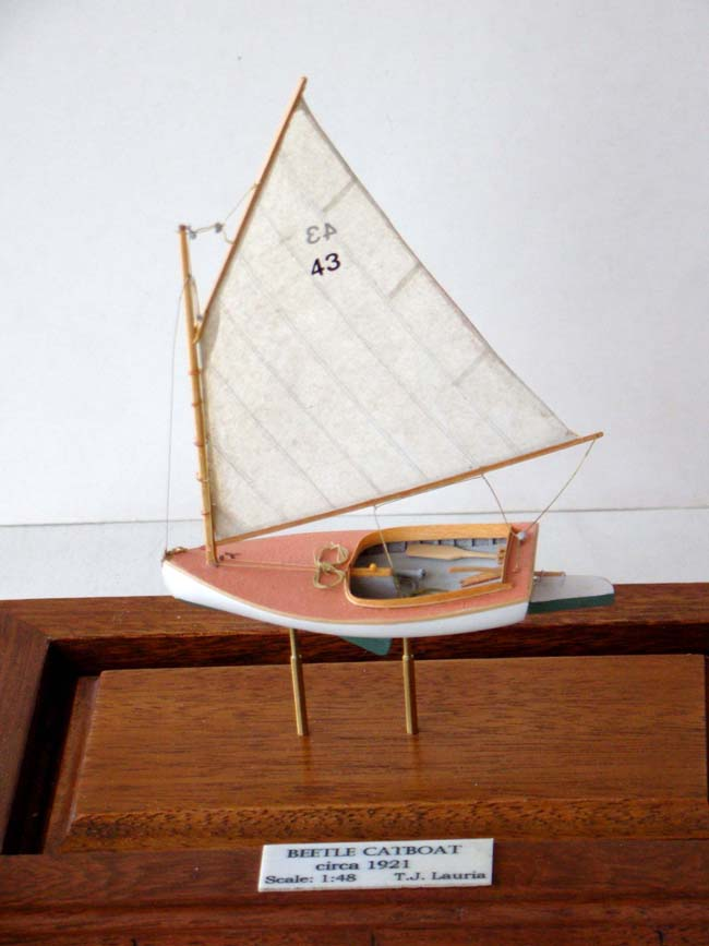 click to view larger image of A fabulous miniature scale model of a circa 1921 BEETLE CATBOAT