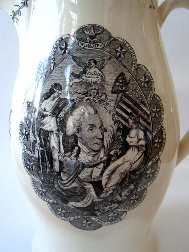 click to view larger image of A 'George Washington' and 'American Eagle' English Creamware Black-Transfer Printed Presentation Liverpool Pitcher circa 1797-1805