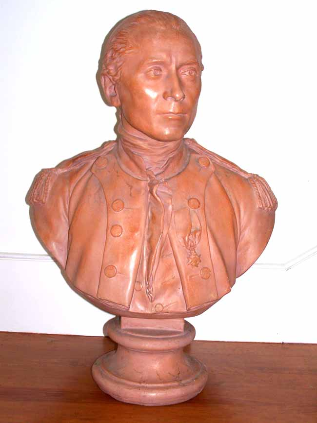 click to view larger image of A fine and Rare 19th century Terracotta Bust of Capt. JOHN PAUL JONES