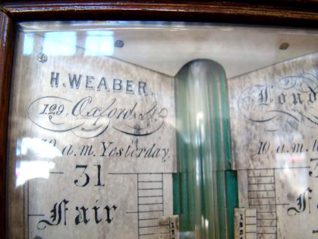 click to view larger image of A mid 19th century English rosewood barometer by Henry Weaber of London circa 1835-1855