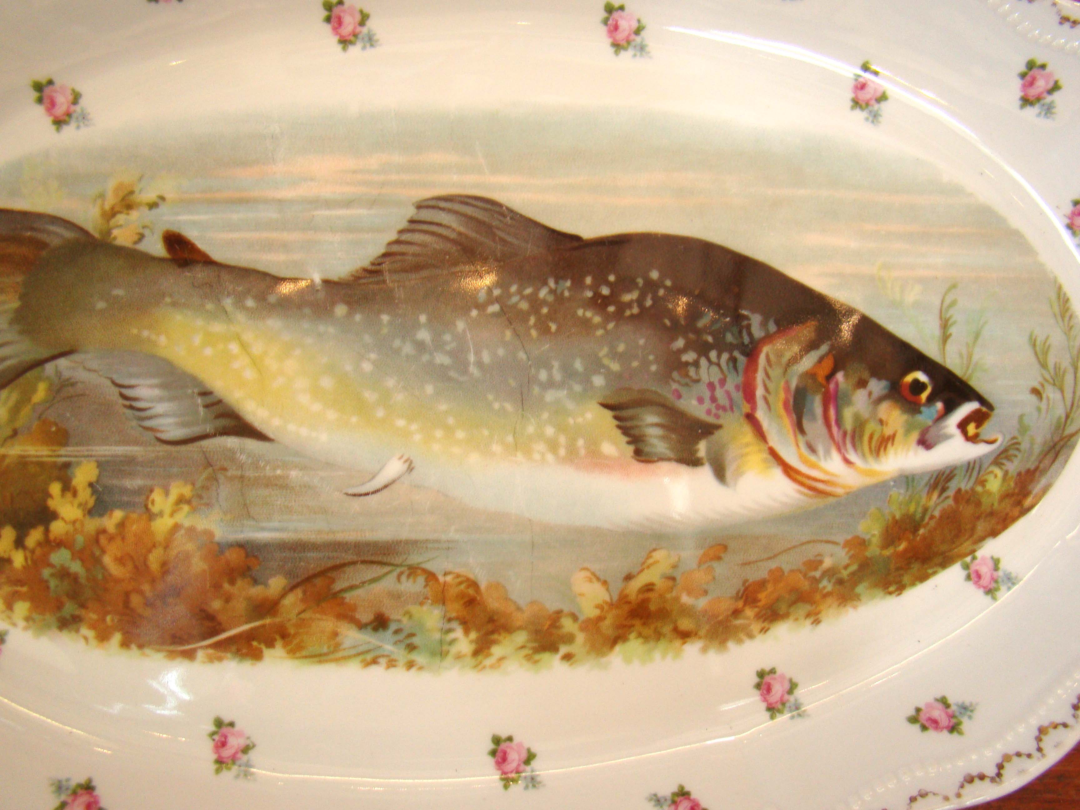 click to view larger image of A fine hand painted Royal Austrian fish serving platter and two matching side dished circa 1910