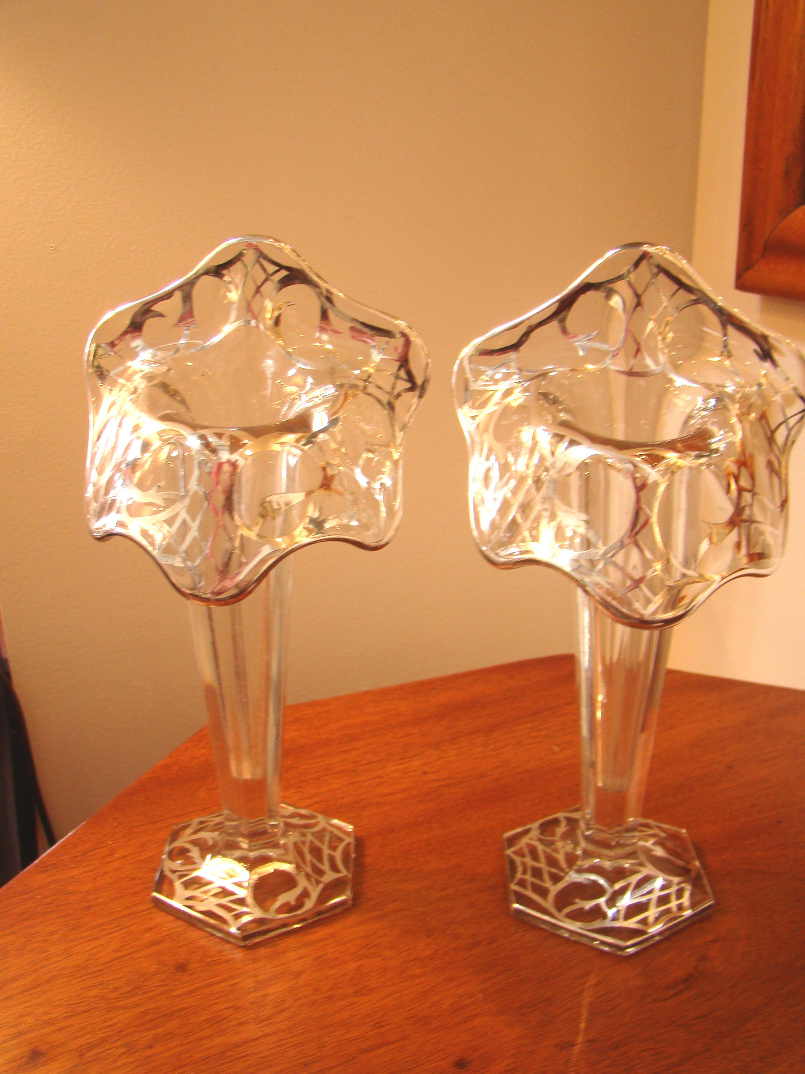 click to view larger image of A fabulous pair of vintage silver overlay tulip vases circa 1900-1920.