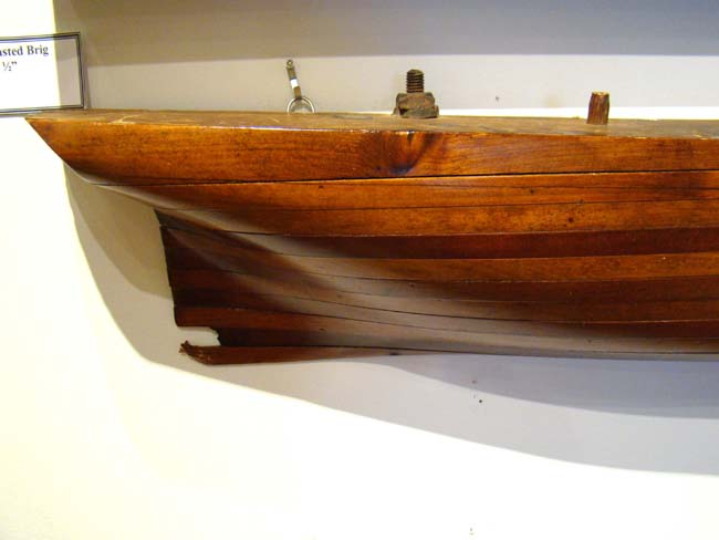 click to view larger image of A Half-Hull Model of a Two-Masted Brigantine circa 1860