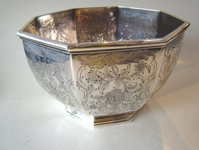 click to view larger image of A large 19th century engraved coin silver sugar bowl inscribed