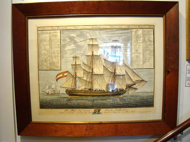click to view larger image of A beautiful restrike of a late 18th  century copper plate engraving of an Italian warship