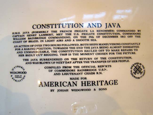 click to view larger image of A fine Wedgewood platter commemorating the War of 1812 Naval Battle between the U S S Constitution and the H M S Java