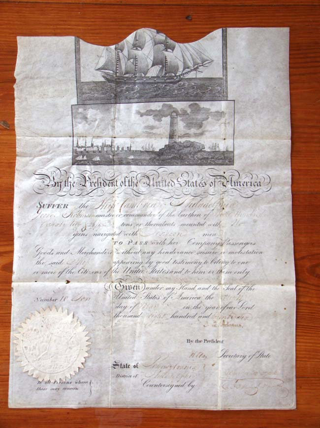 click to view larger image of A rare President JOHN QUINCY ADAMS signed ships passsport dated May 4, 1826