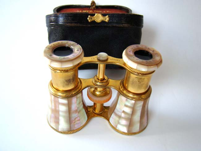 click to view larger image of A beautiful pair of late 19th century French opera glasses by Lemaire of Paris