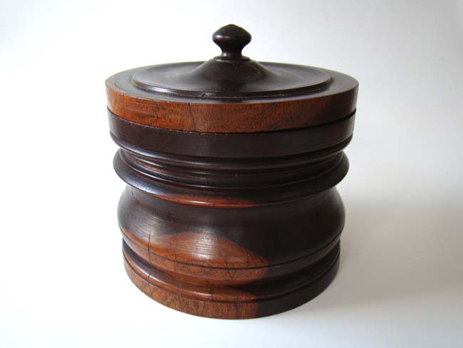 click to view larger image of An early 19th century Lignum Vitae tobacco jar