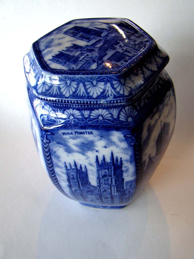 click to view larger image of A beautiful late 19th century English porcelain biscuit jar made for Rington's Tea Merchants