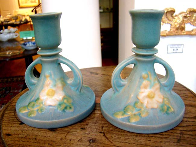 click to view larger image of A lovely small pair of Roseville candle holders circa 1940-1950