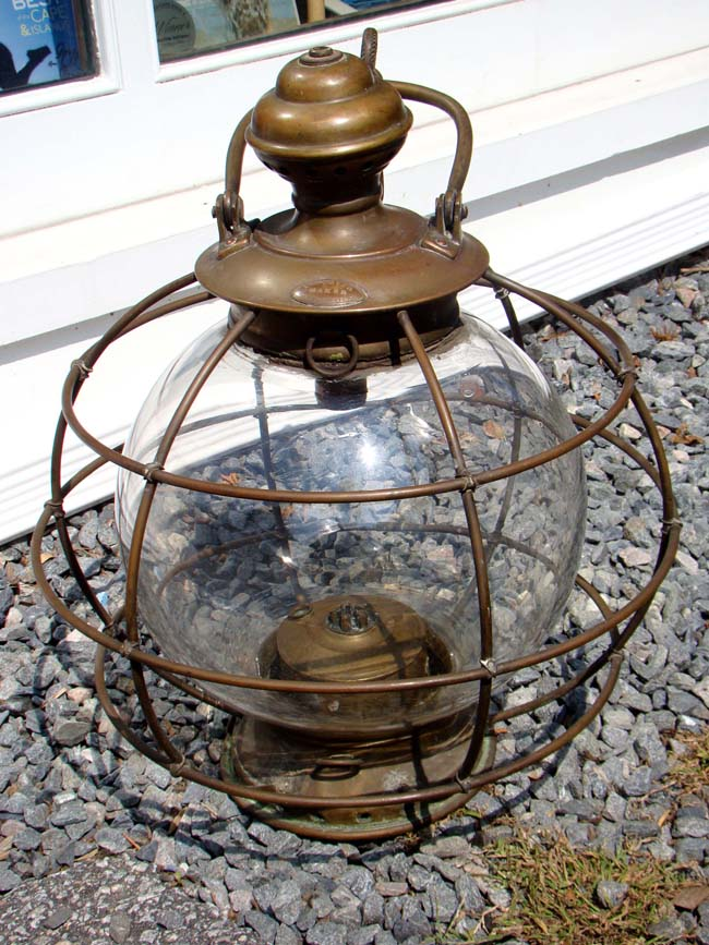 click to view larger image of An extremely RARE large American ship's five burner whale oil mast head lantern circa 1851