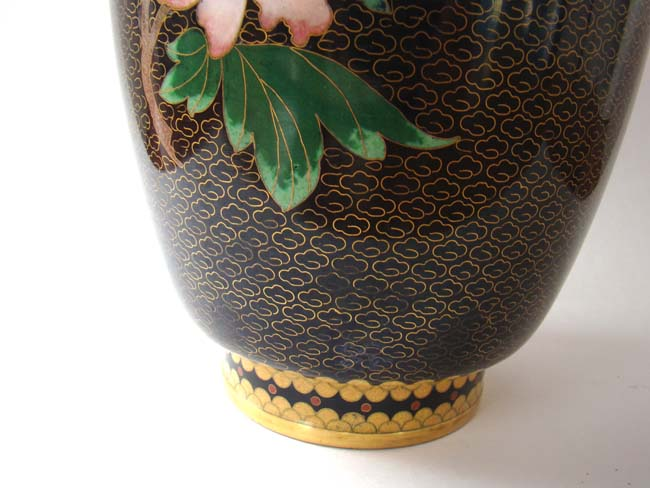 click to view larger image of A fabulous Chinese black and gold decorated vase with birds and flowers circa 1950