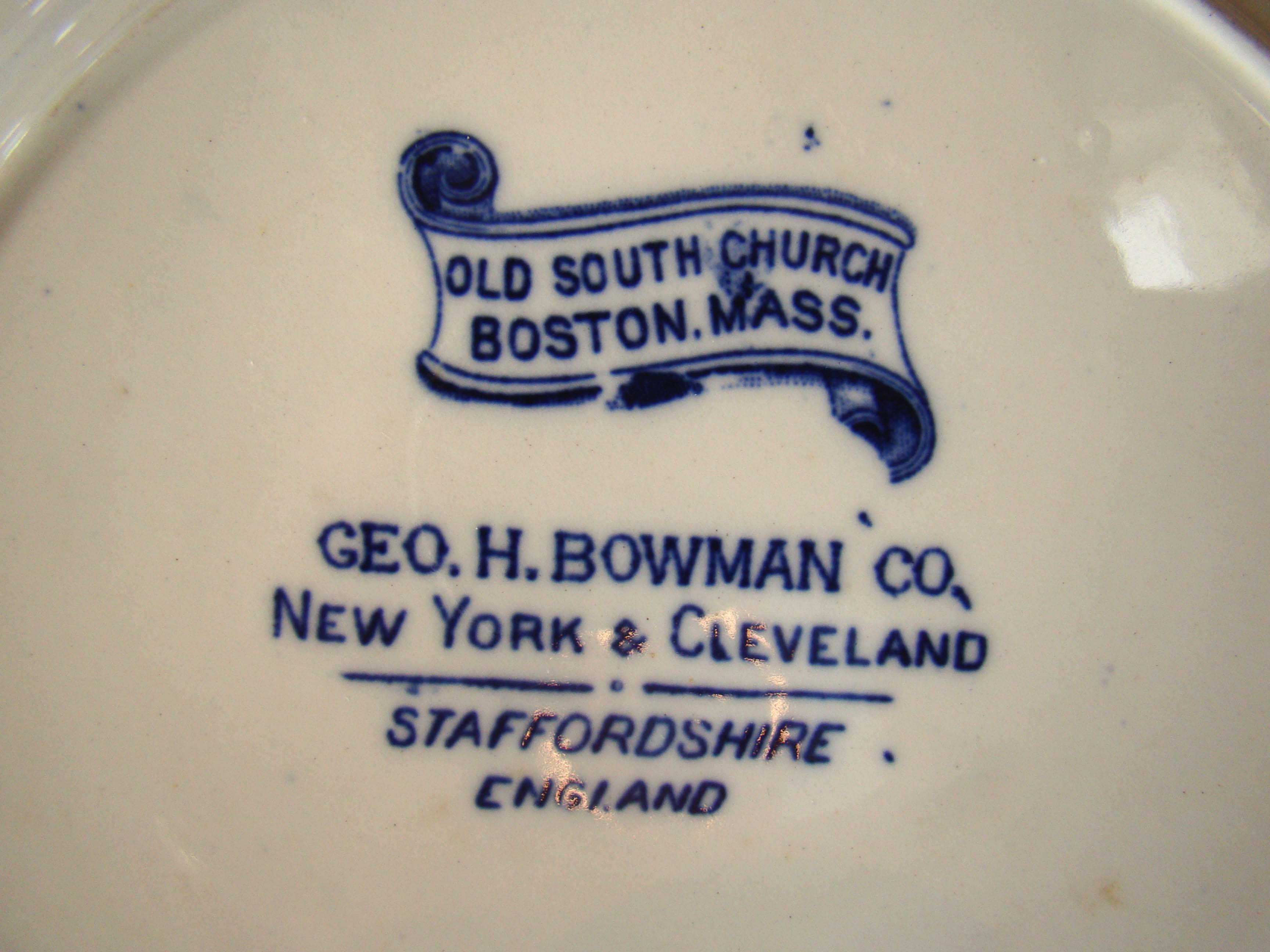 click to view larger image of OLD SOUTH CHURCH souvenir plate made circa 1900