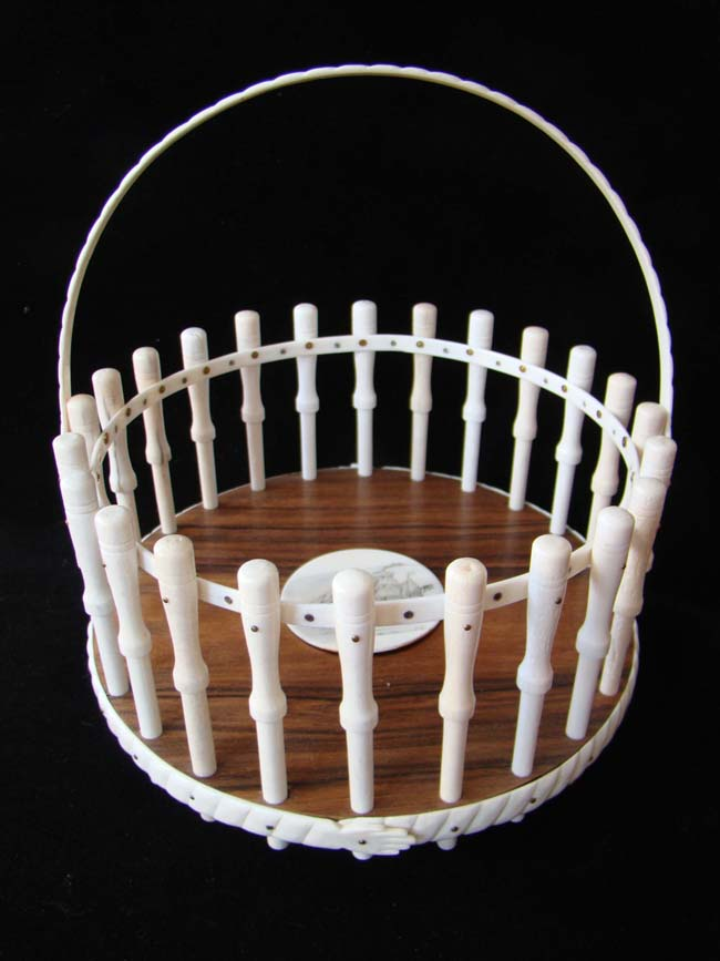 click to view larger image of A fine contemporary 'Whaler's Basket' made of whale bone and whale ivory