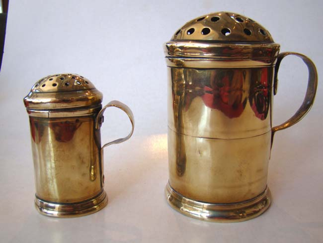 click to view larger image of Two 18th century brass casters (shakers)